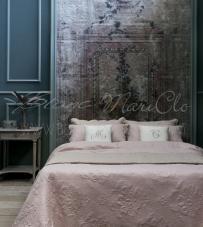 "Boutis Matrimoniale + copriguanciali rosa ""Alie Collection"" Blanc Mariclò"