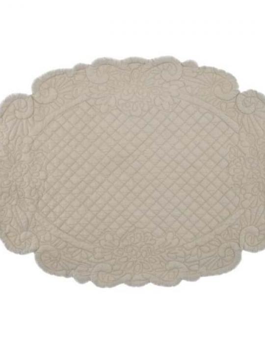 Set Americano ovale Beige Blanc Mariclò.
