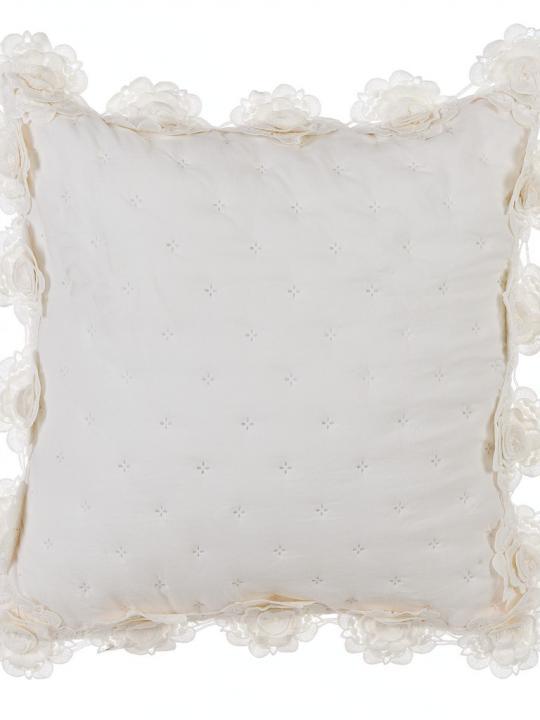 Blanc Mariclò - Cuscino panna con roselline