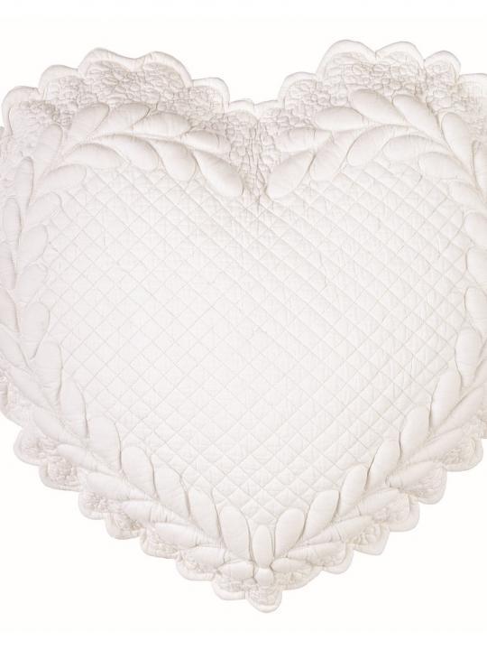 Cuscino cuore in velluto Panna