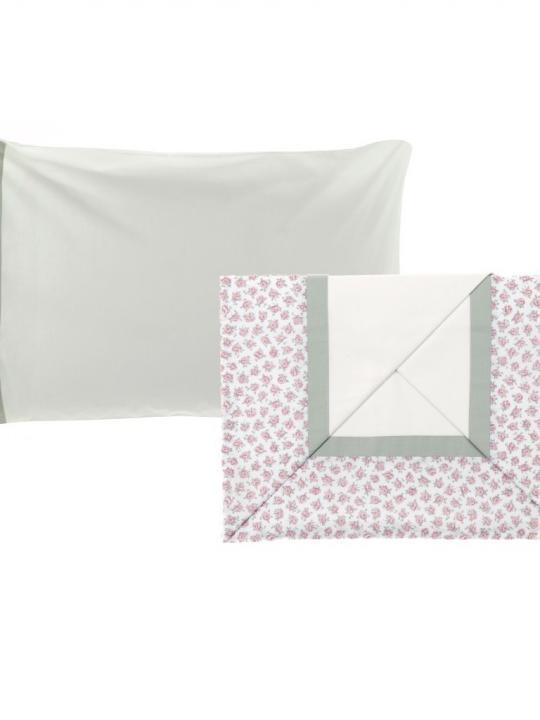 Completo lenzuola matrimoniale con fiorellini rosa