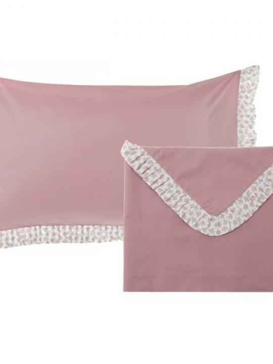 Completo lenzuola singolo rosa con rouge