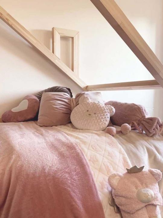 Set Plaid rosa con cuscino