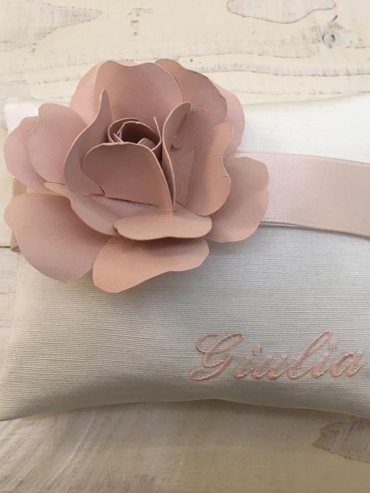 Busta personalizzata con nome + rosa in carta