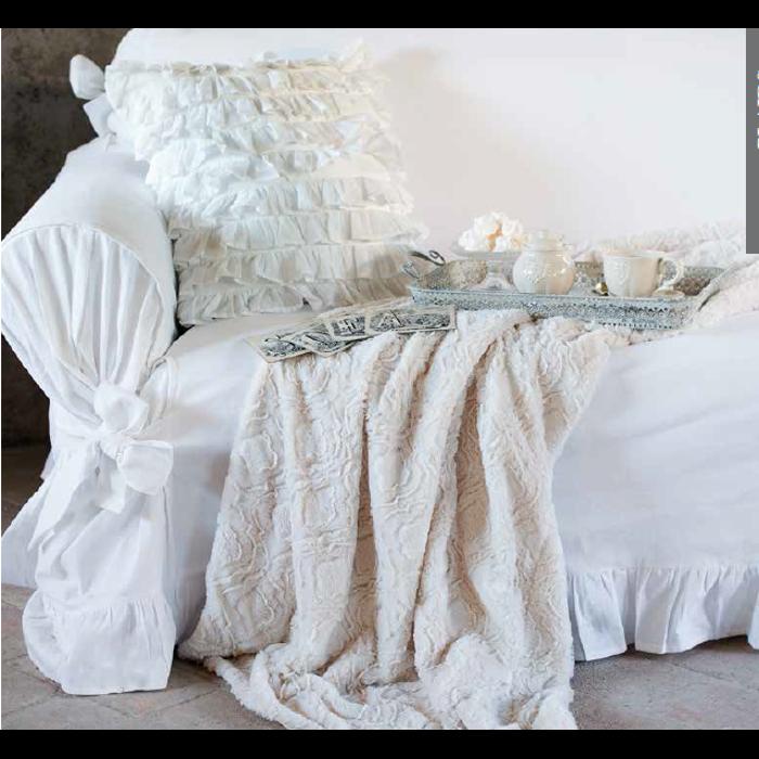 Copridivano 2 posti shabby chic blanc maricl petit r ve - Copridivano per divano angolare con cuscini fissi ...